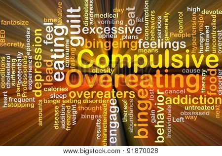 Background concept wordcloud illustration of compulsive overeating glowing light