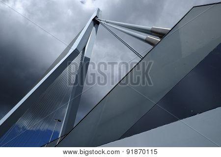 Erasmus bridge Rotterdam Looking Up