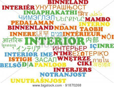 Background concept wordcloud multilanguage international many language illustration of interior