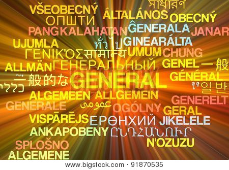 Background concept wordcloud multilanguage international many language illustration of general glowing light