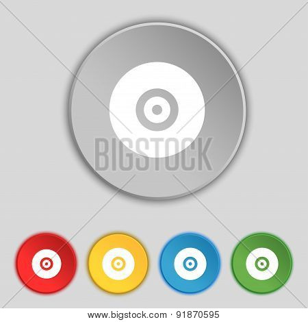 Cd Or Dvd Icon Sign. Symbol On Five Flat Buttons. Vector