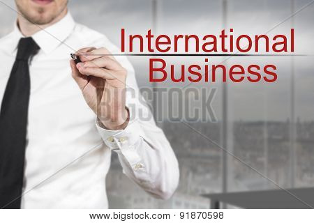 Businessman Writing International Business In The Air
