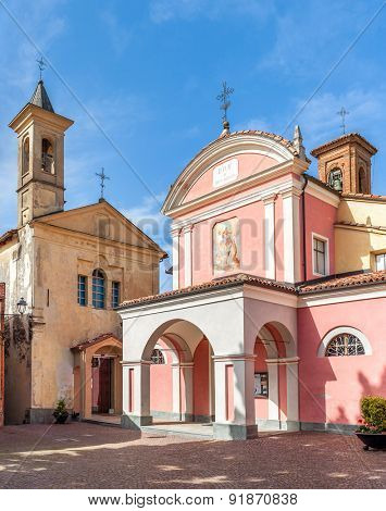 BAROLO, ITALY - MAY 14, 2015: Parish church of St. Donatus in small square of Barolo - world famous wine town in Langhe area of Piedmont where Barolo wine produced since 1250.