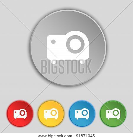 Projector Icon Sign. Symbol On Five Flat Buttons. Vector