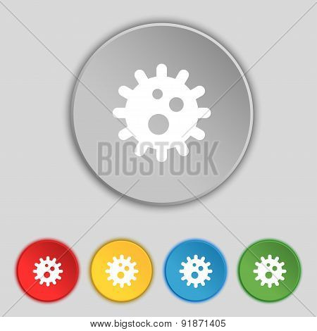 Naval Mine Icon Sign. Symbol On Five Flat Buttons. Vector