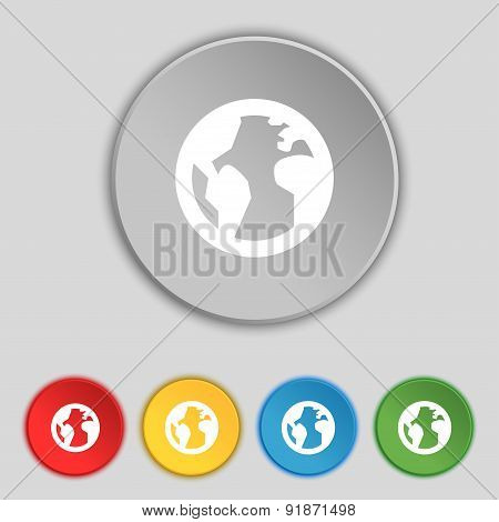 Globe, World Map Geography Icon Sign. Symbol On Five Flat Buttons. Vector