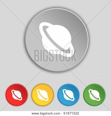 Jupiter Planet Icon Sign. Symbol On Five Flat Buttons. Vector