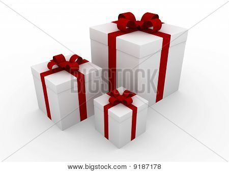 Gift box white red