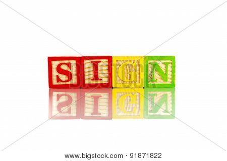 Sign Reflection On White Background