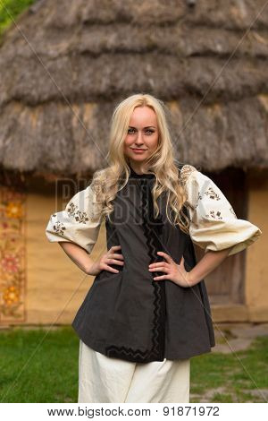 Young Woman In Ukrainian National Costume - Smiling