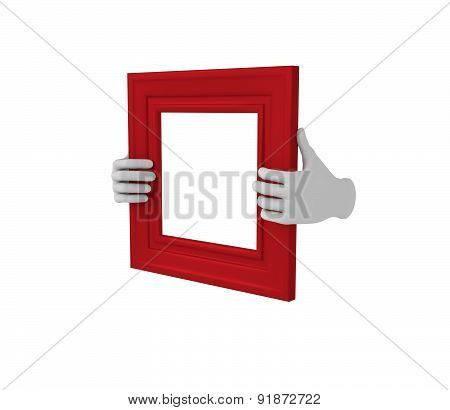 Two Hands Holding A Red Square Picture Frame. 3D. Isolated.