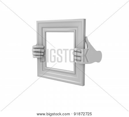 Two Hands Holding A White Square Picture Frame. 3D. Isolated.