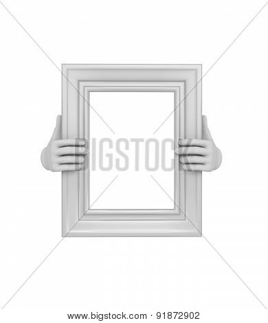Two Hands Holding A White Rectangular Picture Frame. 3D. Isolated.