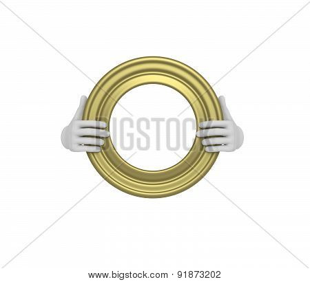 Two Hands Holding A Gold Circle Picture Frame. 3D. Isolated.