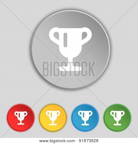 Winner Cup, Awarding Of Winners, Trophy Icon Sign. Symbol On Five Flat Buttons. Vector