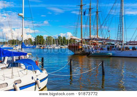 Old Port and yacht marina in Helsinki, Finland