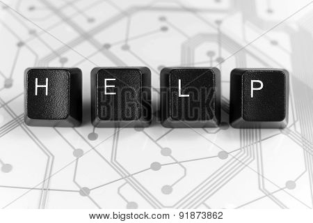 It Help, Four Keyboard Keys On White Circuit Board