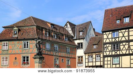 Alsace. Facades Of Half-timbered Houses