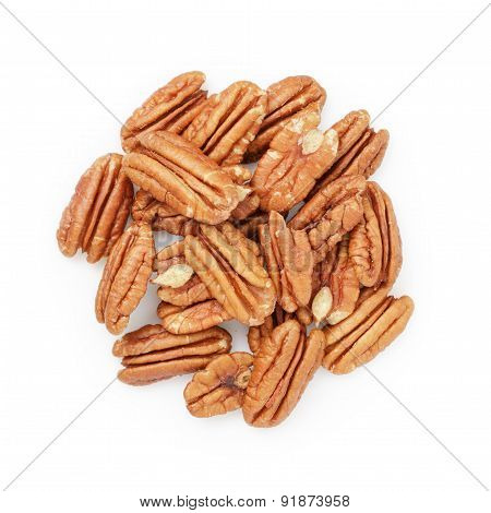 Pecan halves from above isolated on a white