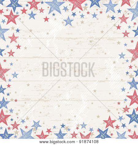 Frame Of Grunge Usa Background, Vector Illustration