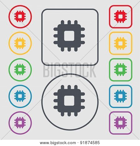 Central Processing Unit Icon Sign. Symbol On The Round And Square Buttons With Frame. Vector