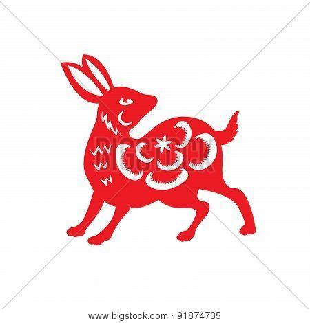 Red paper cut a rabbit zodiac symbols