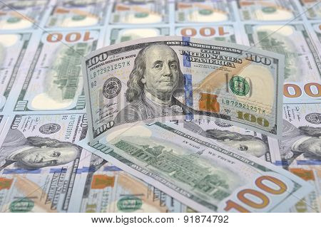 New Banknotes On A Background Of Hundred Dollars