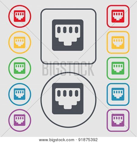 Cable Rj45, Patch Cord Icon Sign. Symbol On The Round And Square Buttons With Frame. Vector