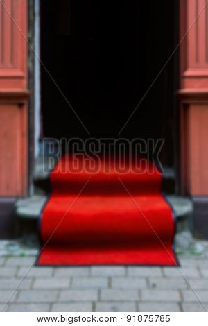 Red Carpet At The Door. Blurry