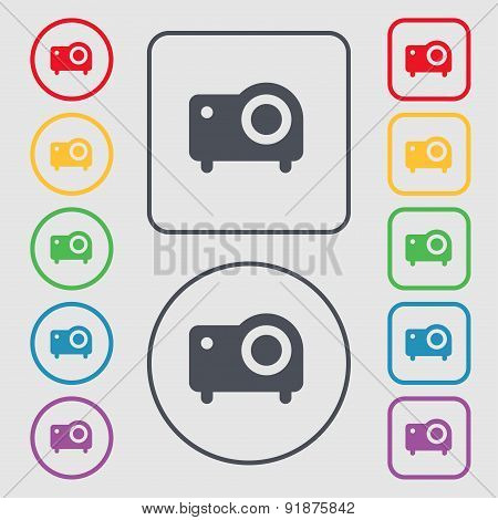 Projector Icon Sign. Symbol On The Round And Square Buttons With Frame. Vector