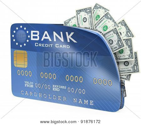 3D Credit Card Full Of Dollar Bill