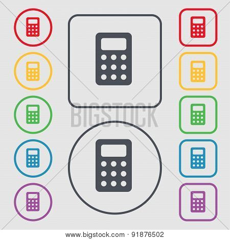 Calculator, Bookkeeping Icon Sign. Symbol On The Round And Square Buttons With Frame. Vector