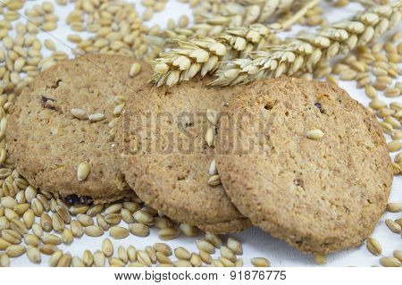 Integral Cookies And Wheat On White