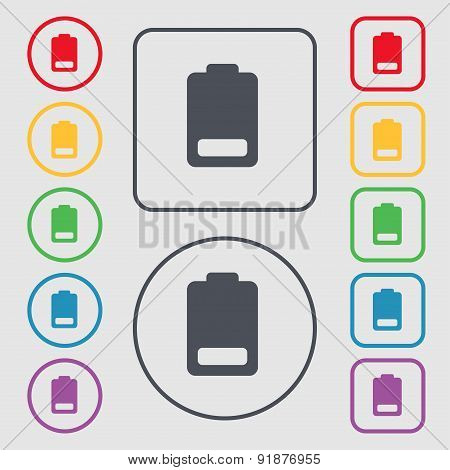 Battery Low Level, Electricity Icon Sign. Symbol On The Round And Square Buttons With Frame. Vector