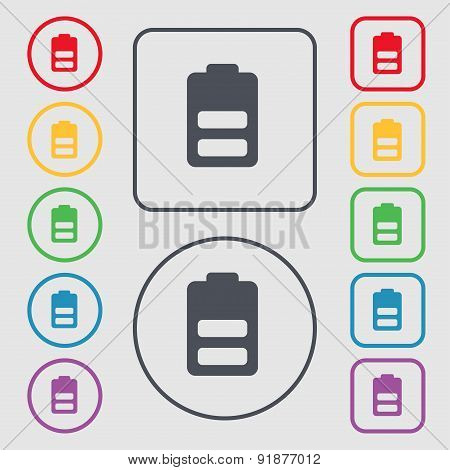 Battery Half Level, Low Electricity Icon Sign. Symbol On The Round And Square Buttons With Frame. Ve