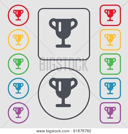 Winner Cup, Awarding Of Winners, Trophy Icon Sign. Symbol On The Round And Square Buttons With Frame