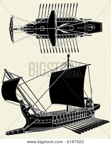 The Ancient Greek Ship Vector...