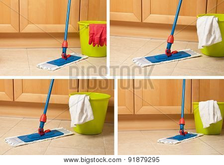 Set of house items for cleaning, bucket, mop, gloves near kitchen furniture on floor