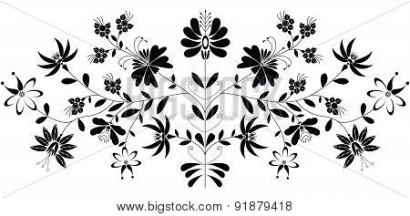 European Folk Floral Pattern in Black On White Background.eps