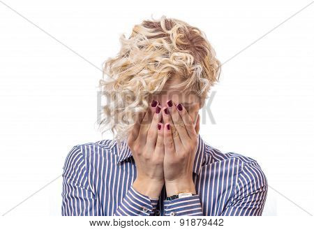 Female  Covered Own Face With Their Hands, Isolated On White Background. Young Female Be Ashamed Or