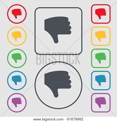 Dislike, Thumb Down, Hand Finger Down Icon Sign. Symbol On The Round And Square Buttons With Frame.