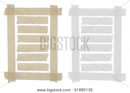 Set of horizontal sticky tape,adhesive pieces, torn paper in the frame on white background. Can writ