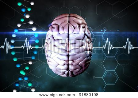 brain against blue dna strand with ecg line