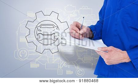 Mechanic writing notes on clipboard against grey vignette