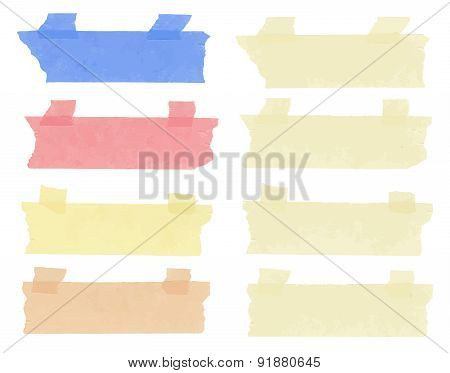 Set of horizontal and different size sticky tape,adhesive pieces, torn paper on white background. Ca
