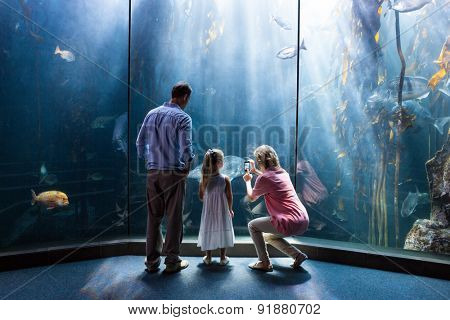 Mother taking photo of fish while daughter and father looking at fish tank at the aquarium