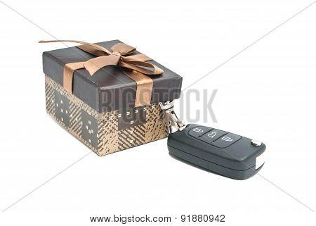 Single Brown Gift Box And Keys