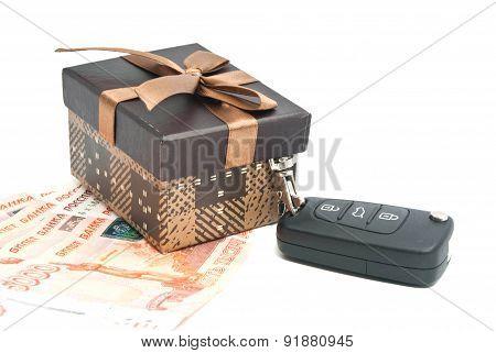 Brown Gift Box, Keys And Money