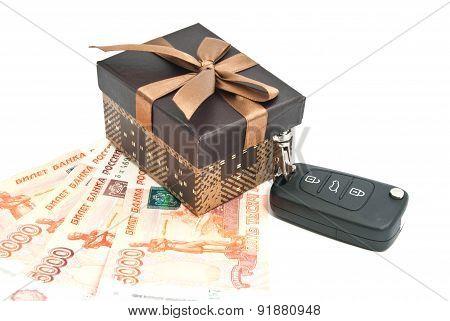 Brown Gift Box, Keys And Banknotes