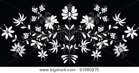 European Folk Floral Pattern in In White On Black Background